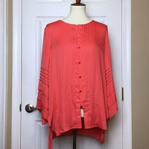 NWT Halston Coral Button Front Tunic Top Blouse